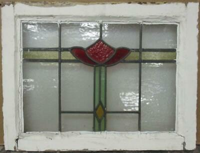 "MIDSIZE OLD ENGLISH LEADED STAINED GLASS WINDOW Geometric Bands 22.5"" x 17"""