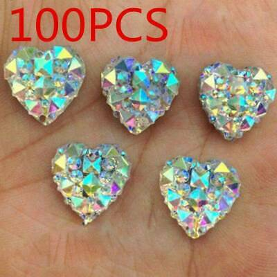 Wholesale 100Pcs Charms Silver Heart Shape Faced Flat Back Resin Beads DIY Gifts