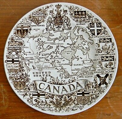 """Wood & Sons Ironstone 10"""" MAP OF CANADA SOUVENIR PLATE Canadian Province England"""
