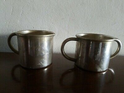Vintage Silver  Plate On Copper Double Handled Baby Cup And Creamer