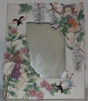 "Vintage raised picture frame  2 Fairies Butter fly and flowers 7.5""x 7.75"" frame"