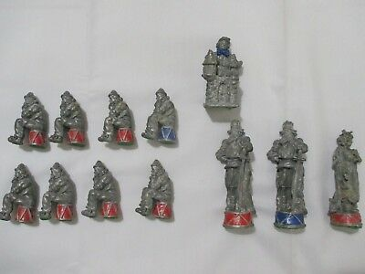 9 Lbs Pounds Large Pewter Chess Pieces (12) For Arts Crafts Reloading Etc