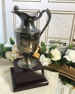Vintage Golf Trophy Silver-plated Pitcher Golf Ball Lid Cherry Wood France RARE