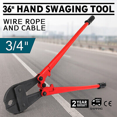 """915mm/36"""" Hand Swaging Wire Rope Cutting Plier Sharp Cut Copper Oval Sleeves"""