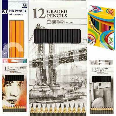 Pack of 12/20 Art School Sketching Graded Pencils 6B-5H Colouring HB Pencils