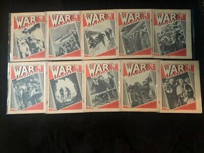Lot of 10 Vintage The War Illustrated 1940 Magazine From April May June of 1940