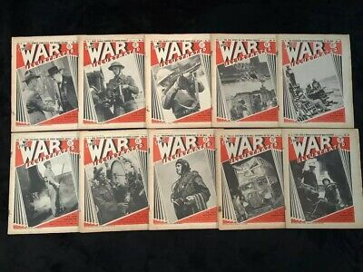 Lot of 10 Vintage The War Illustrated 1940 Magazine - From July Aug sept of 1940