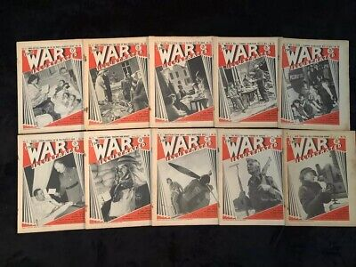 Lot of 10 Vintage The War Illustrated 1940 Magazine - From Sept Oct Nov of 1940