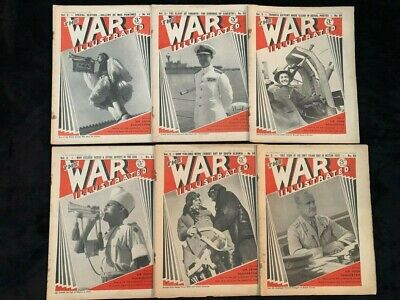 Lot of 6 Vintage The War Illustrated 1940 Magazine - From Nov Dec of 1940