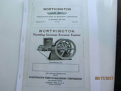 1921 Worthington Kero 11/2 to 25hp  Engine  Instruction/Type Catalog Manual