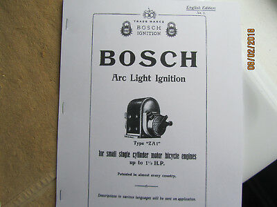 Bosch Type ZA1  1 cylinder  Magneto Instructions, Operating/ Parts Manual