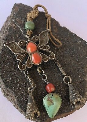 Antique Old CHINESE China Silver Butterfly Red Coral Turquoise Pendant Necklace
