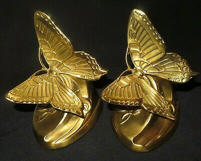 Heavy Brass Bookends by P. M. Craftsmen Solid Cast USA 2 Butterflies Butterfly