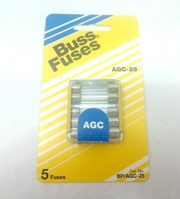 Pack of 5 Fuses Bussmann AGC-25