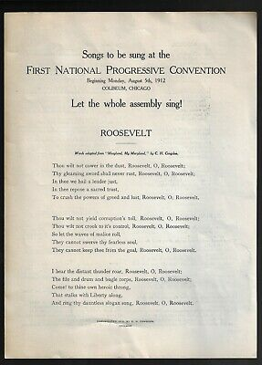 1912 Progressive Party Convention Songs Pamphlet Promoting Theodore Roosevelt