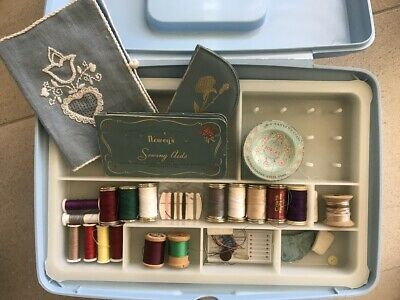 Blue Vintage Sewing box with contents pick up Perth 6065