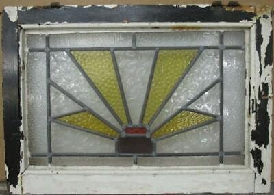"MIDSIZE OLD ENGLISH LEADED STAINED GLASS WINDOW Geometric Burst 22.75"" x 16"""