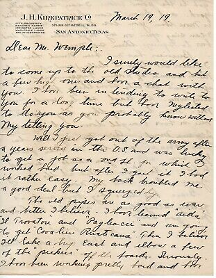 63177. Mar 1919 Letter from J.H. Kirkpatrick San Antonio Texas to F.Morse Wemple