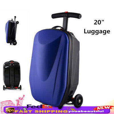 """20"""" Travel Scooter Luggage Foldable Carry Rolling Suitcase w/Skateboard Gift Bag"""
