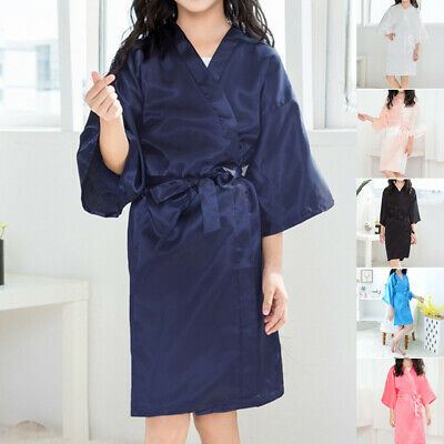 Kid Silk Satin Kimono Robes Bathrobe Sleepwear Wedding Flower Girl Night Dress T