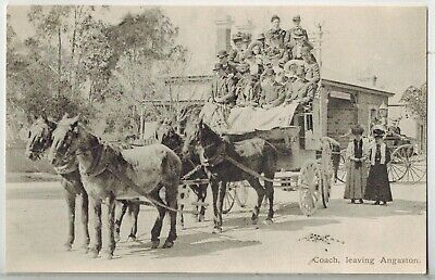 Donald Taylor Postcard - Barossa Valley - Coach Leaving Angaston