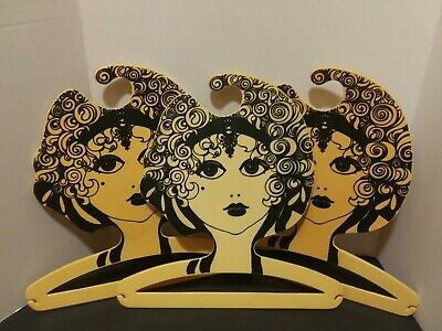 3 Fashion Model Face Vintage Dress Clothes Hanger Milano Italy Boutique