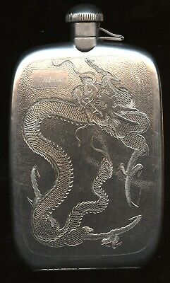 ANTIQUE Circa 1890s Sterling SILVER Chinese NANKING Handmade 176g DRAGON FLASK!