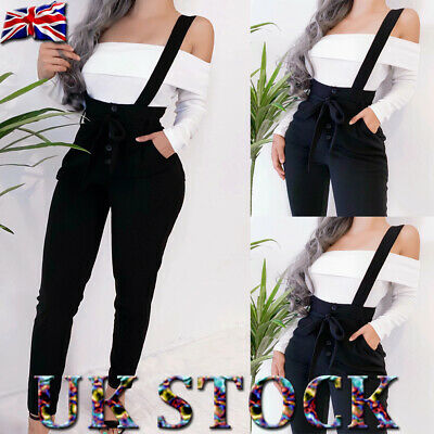 Womens Bib Overall Denim Dungarees Ladies High Waist Overall Jeans Jumpsuit Pant