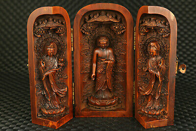 Big old boxwood hand carving buddha statue snuff bottle box 5.8 Inch H