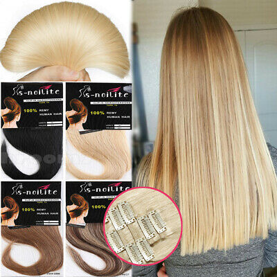 AAA+ On Clearance Clip In Remy Real Human Hair Extensions Half Head 8PCS UK H531