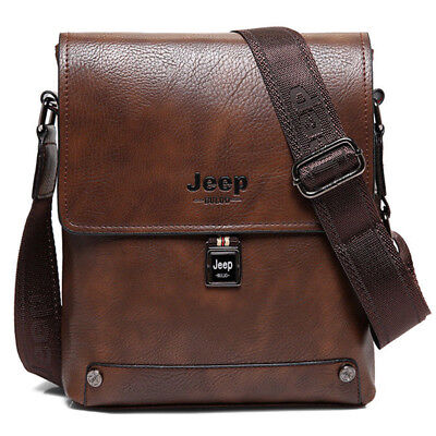 Men's Business Briefcase Cow Two-layer Leather Crossbody Shoulder Tote Bag JEEP