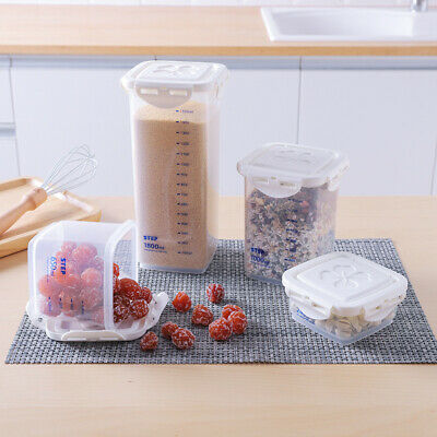 Clear Plastic Sealed Food Storage Can Canister Bottle Fresh Jar scale Organizer