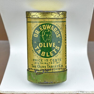 Rare VTG Tiny Dr. Edwards Olive Tablets Tube Tin Container Upside Down 15 cents
