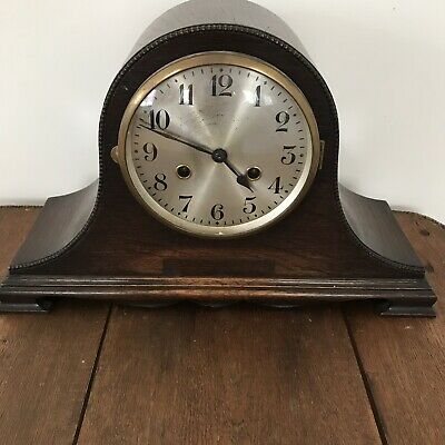 Vintage Oak Chiming Mantel Clock With Key And Pendumum. Not Working