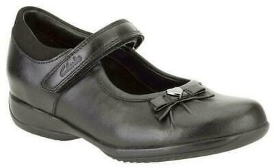 Clarks Girls Daisy Gleam Leather Shoes - Size 12.5F&3.5E