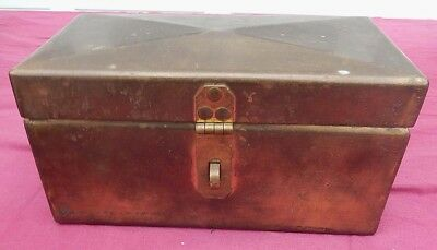 Vintage Handwrought HEAVY GAUGE Solid BRASS Security / Documents Box - 8 x 4 x 4