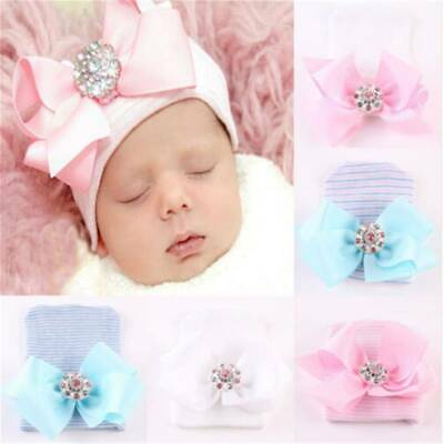 Baby Girls Infant Colorful Striped Soft Hat Bow Cap Hospital Newborn Beanie 6A