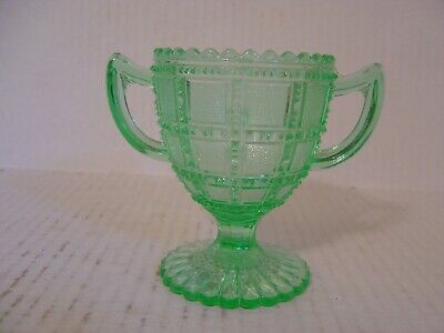 Vintage Green Depression Glass Sugar Bowl With Frosted Square Pattern