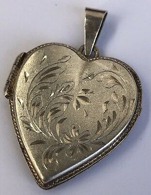 1900s Antique Victorian 925 Sterling Silver Etched Collectible Heart Pendant