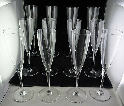 Set Of 12 Baccarat Crystal Dom Perignon Fluted Champagne Glasses