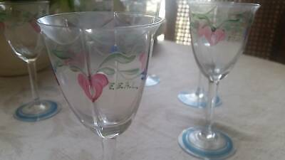 Quality hand-painted rare Orrefors wine glasses