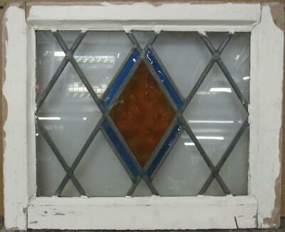 "OLD ENGLISH LEADED STAINED GLASS WINDOW Gorgeous Diamond Lead 22.25"" x 18"""