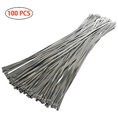 30PCS Stainless Steel Ties Top Quality Exhaust Wrap Locking Cable Zip Tie