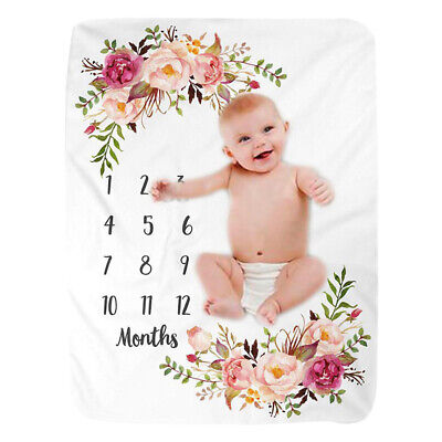 Baby Milestone Theme Blanket Mat Newborn Photography Props Baby Monthly Blanket