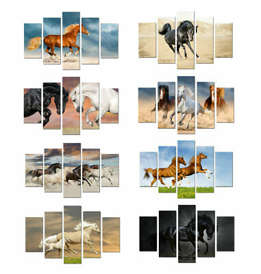 5 Pieces Canvas prints painting Animal Running Horses Wall Art Gift Home Decor