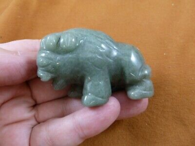 (Y-BUF-720) green Aventurine BUFFALO ranch bison gemstone carving figurine gem