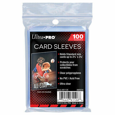 100 x Ultra Pro Regular Trading Card Sleeves Clear Plastic Penny Protector Pack