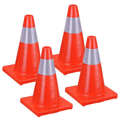 """PACK OF 4 Road Traffic Cones 18"""" Self weighted Safety Heavy Duty Emergency PVC"""