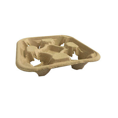 200x 4 Cup Egg Coffee Tray Kraft Brown Travel Drink Cup Holder Cafe Tea Takeaway