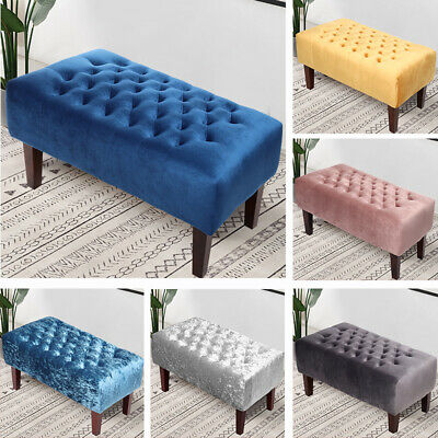 Large Velvet Chesterfield Footstool Pouffe Seat Coffee Table Ottoman Bench Chair